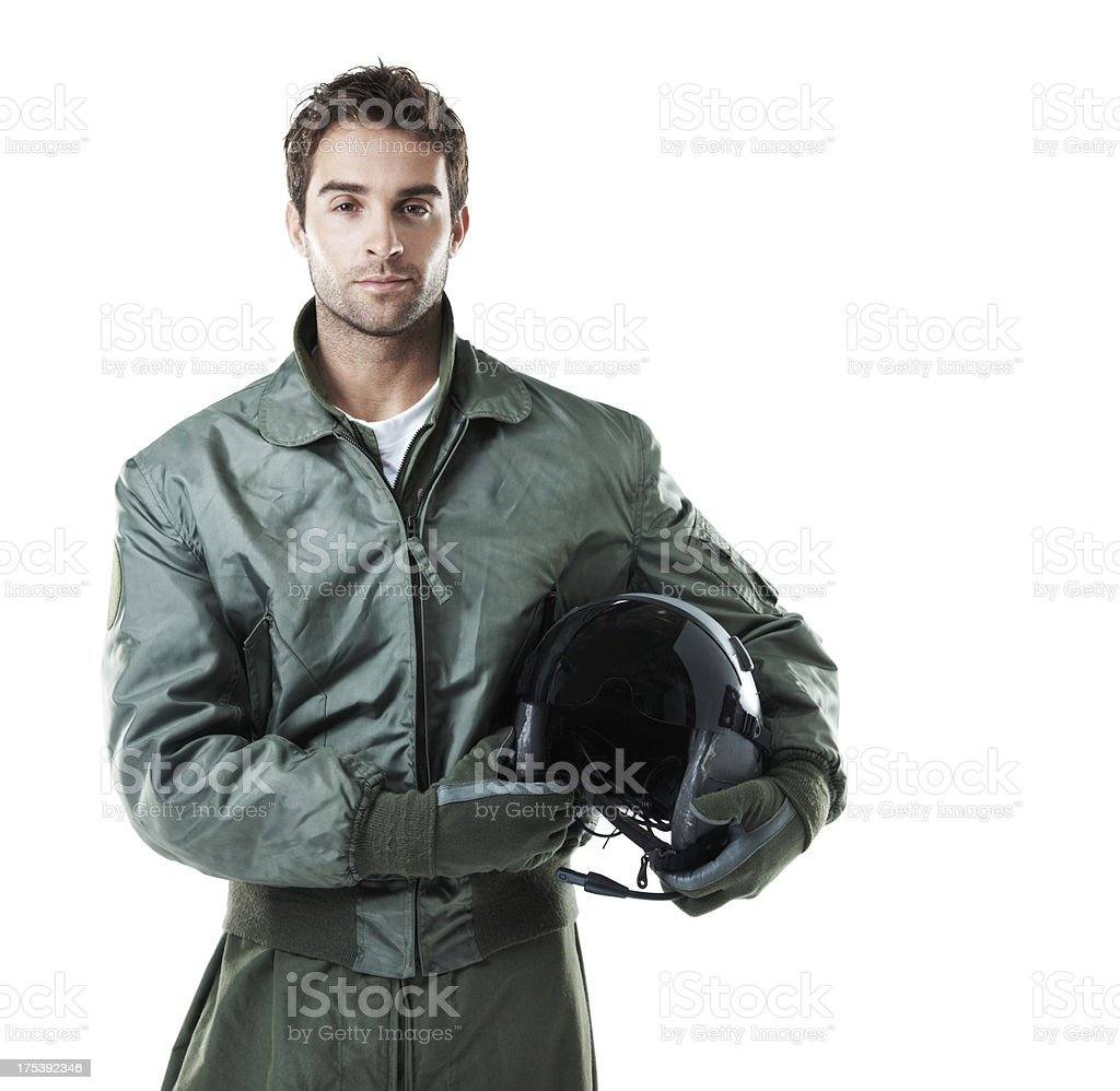Professional pilot prepared to take flight stock photo