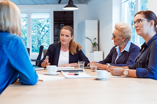 Professional Planning With Colleagues In Meeting Stock Photo - Download Image Now