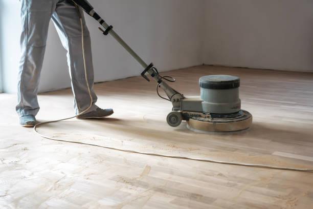 professional polishing machine polish the floor stock photo