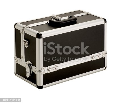 Close case for cosmetics isolated on white, women tool box isolate