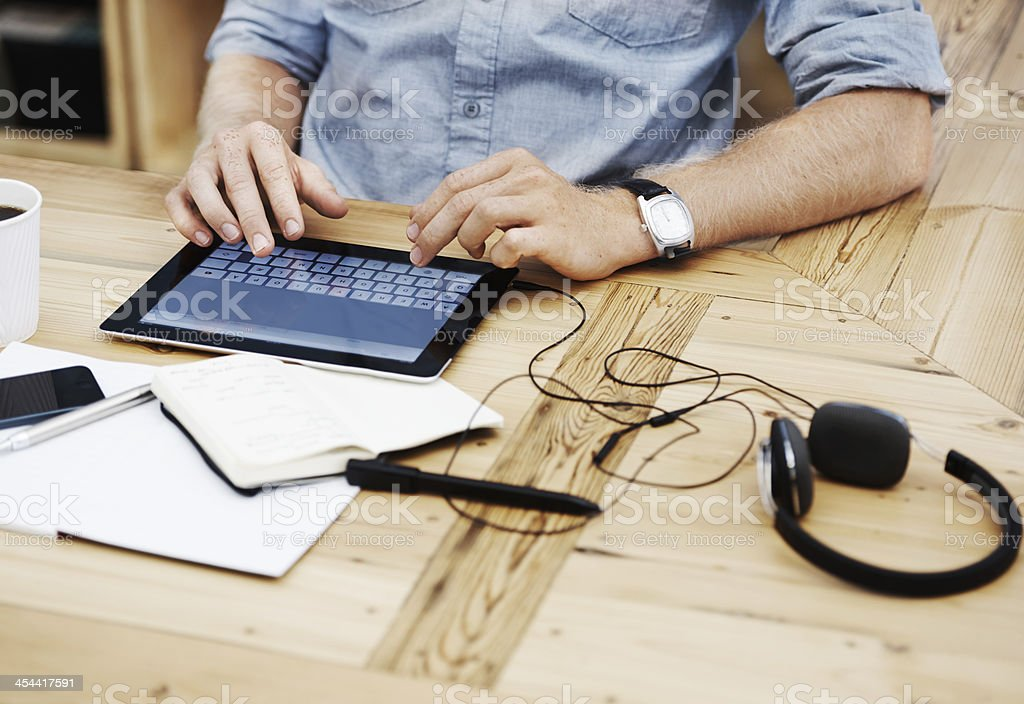 Professional processes on the tablet royalty-free stock photo