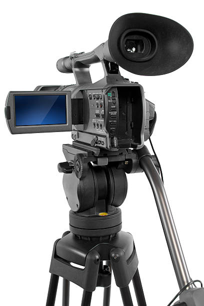 Professional Production Video Camera on White Background stock photo
