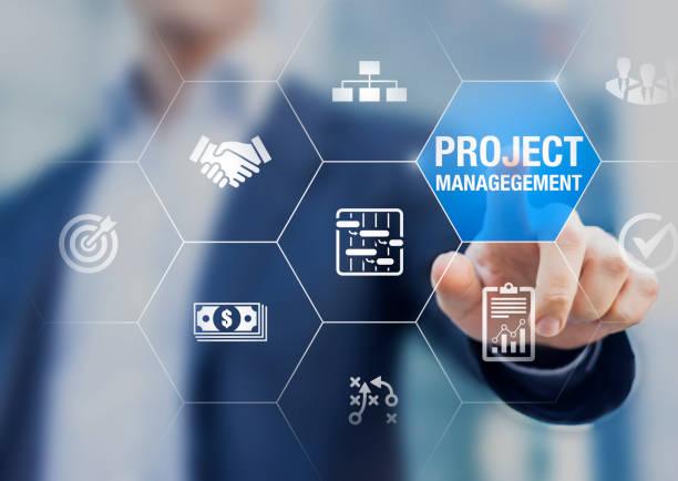 Professioneller Projektmanager mit Icons über Planungsaufgaben und Meilensteine im Zeitplan, Kostenmanagement, Überwachung des Fortschritts, Ressource, Risiko, Leistungen und Vertrag, Geschäftskonzept – Foto