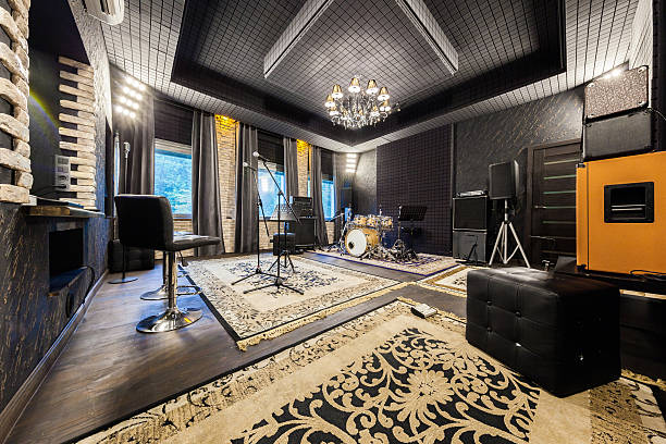 professional recording studio with musical instruments interior music studio for musicians playing, photo made in the wide-angle lens recording studio stock pictures, royalty-free photos & images