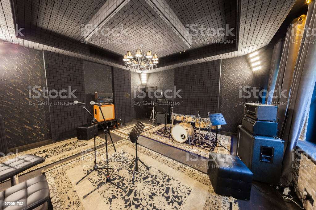 professional recording studio with musical instruments royalty-free stock photo