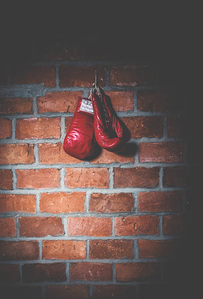 Professional Red Boxing Gloves Hanging On A Peg Stock Photo