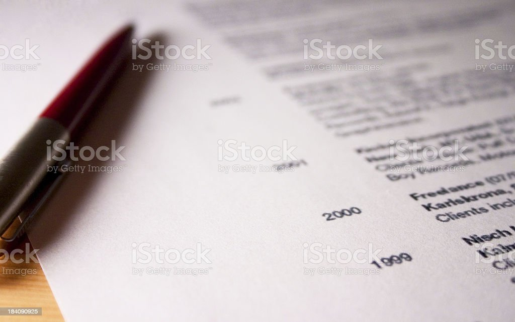 Professional resume - high contrast stock photo