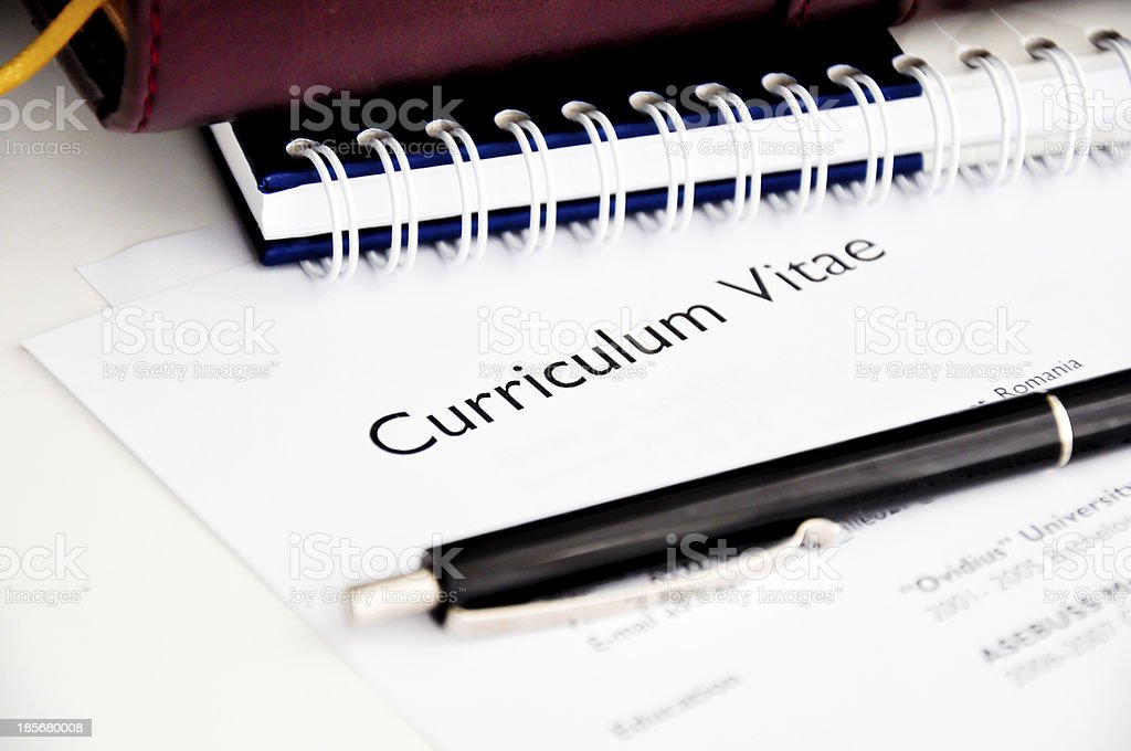 professional resume or curriculum vitae stock photo