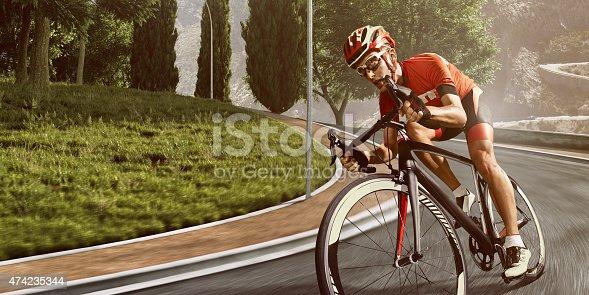 istock Professional road cyclist 474235344
