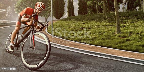 istock Professional road cyclist 474476888