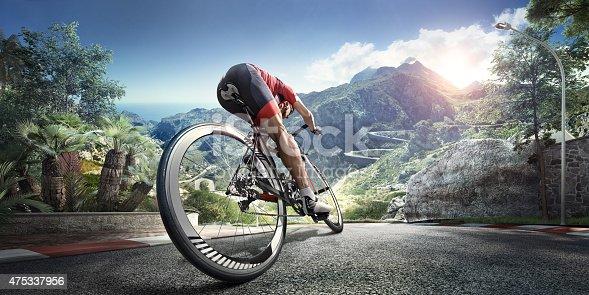istock Professional road cyclist 475337956