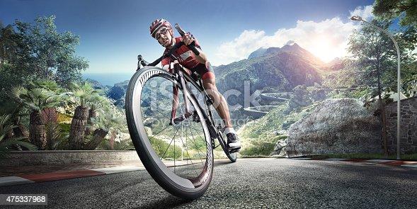 istock Professional road cyclist 475337968
