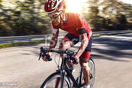 istock Professional road cyclist 477445616