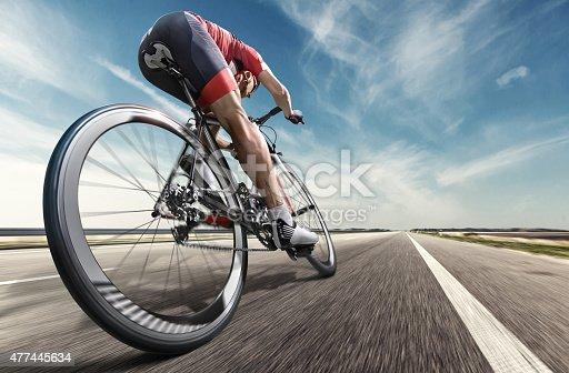 istock Professional road cyclist 477445634