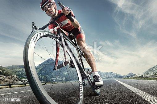 istock Professional road cyclist 477445706