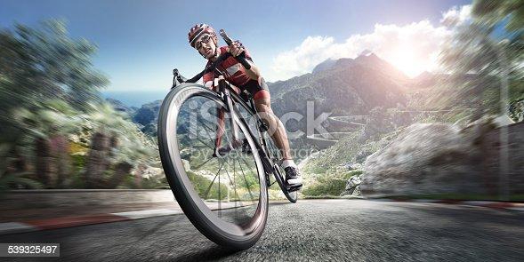 istock Professional road cyclist 539325497