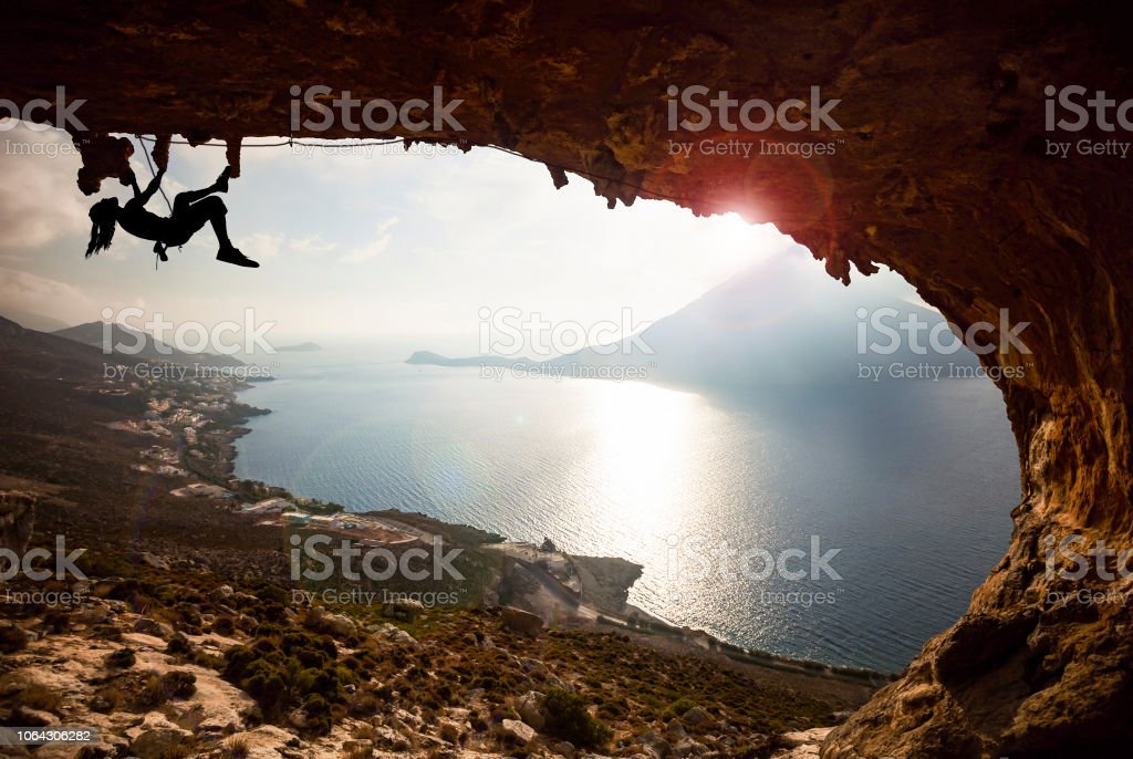 professional rock climbers in the proper place stock photo