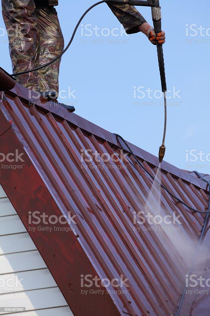 Professional roof washing. stock photo