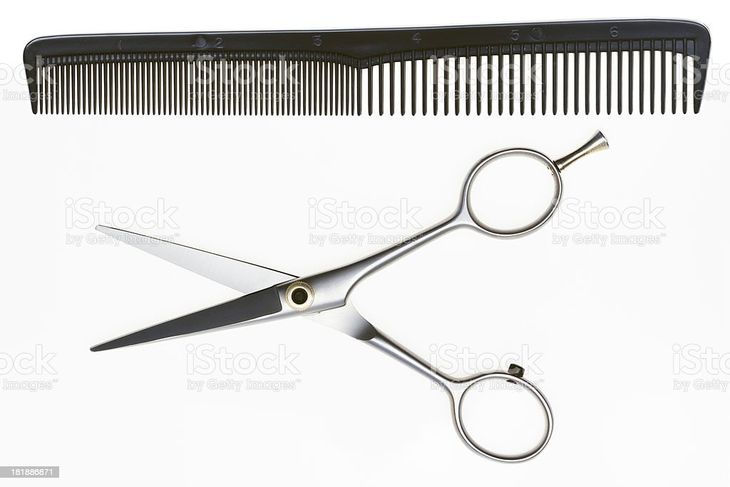 Professional Scissors with Comb stock photo