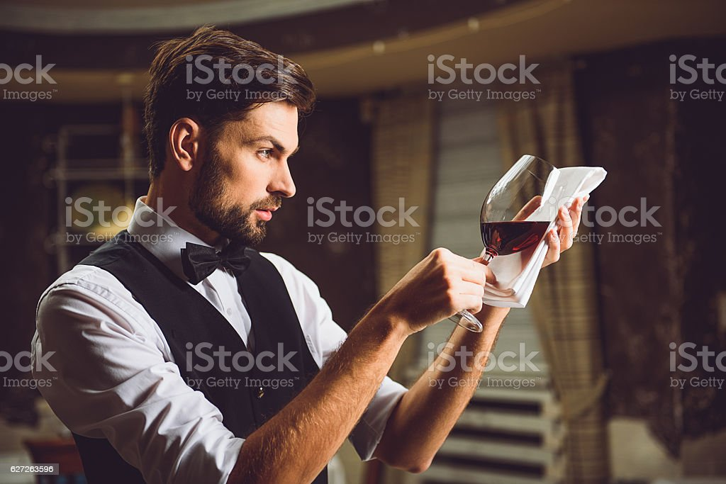 Professional sight at glass of crimson wine stock photo