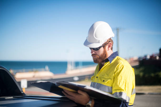 Professional Site Manager working outdoors stock photo