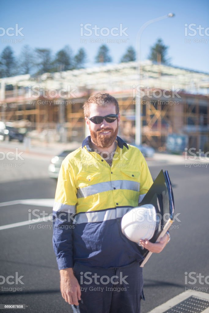 Professional Site Manager working outdoors royalty-free stock photo