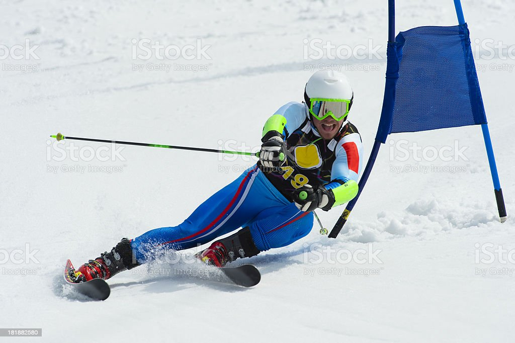 Professional Skier at Giant Slalom Race stock photo