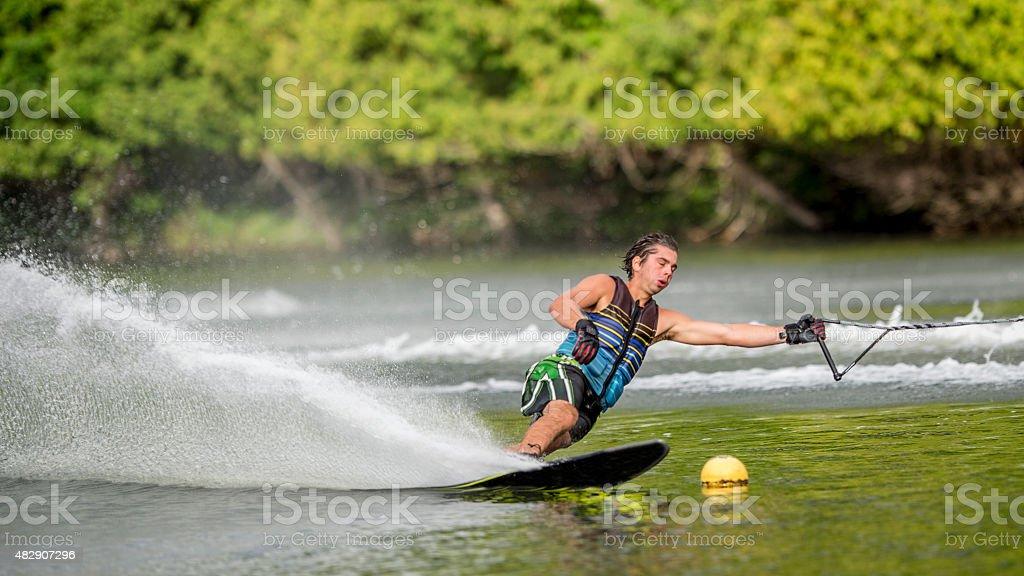Professional Slalom Skier stock photo
