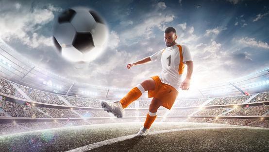 Professional soccer player in action on stadium with flashlights and fans. Kicking ball for winning goal. Wide angle. 3d. Sport