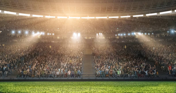 a professional soccer stadium with crowd made in 3d. - sport stock pictures, royalty-free photos & images