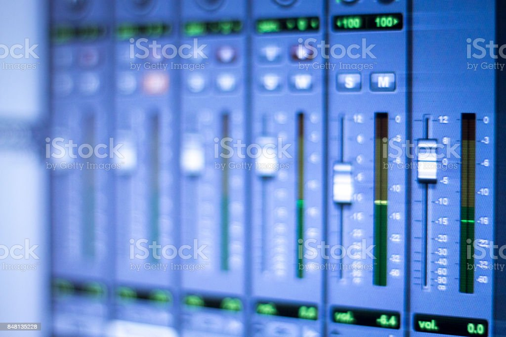 Professional sound recording audio studio computer screen to record music, musical instruments, voices, singing and voiceovers. stock photo