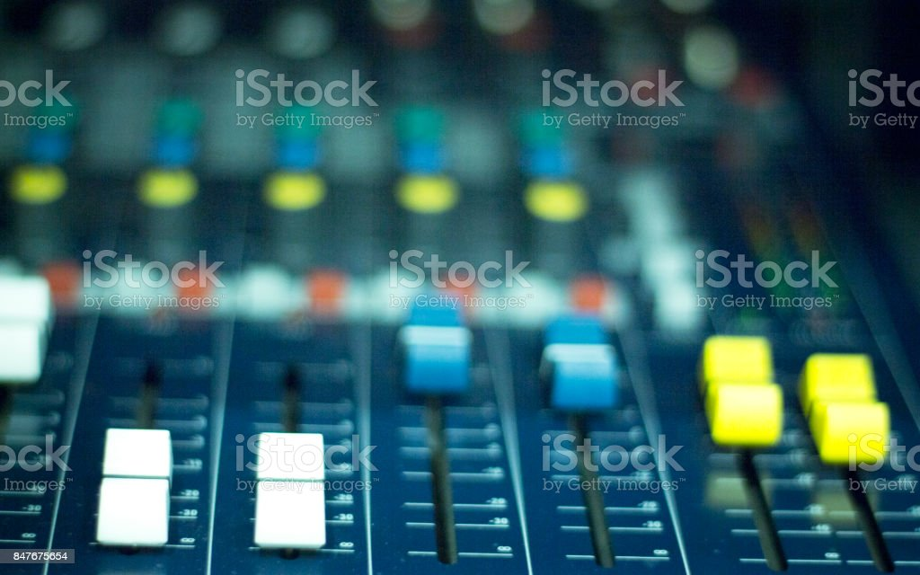 Professional sound recording audio studio digital equipment, amplifier, knobs and graphic equalizer controls. stock photo