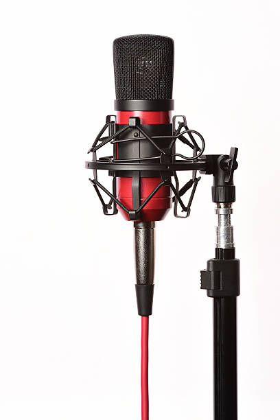 professional studio condenser microphone with cord - stay tuned bildbanksfoton och bilder