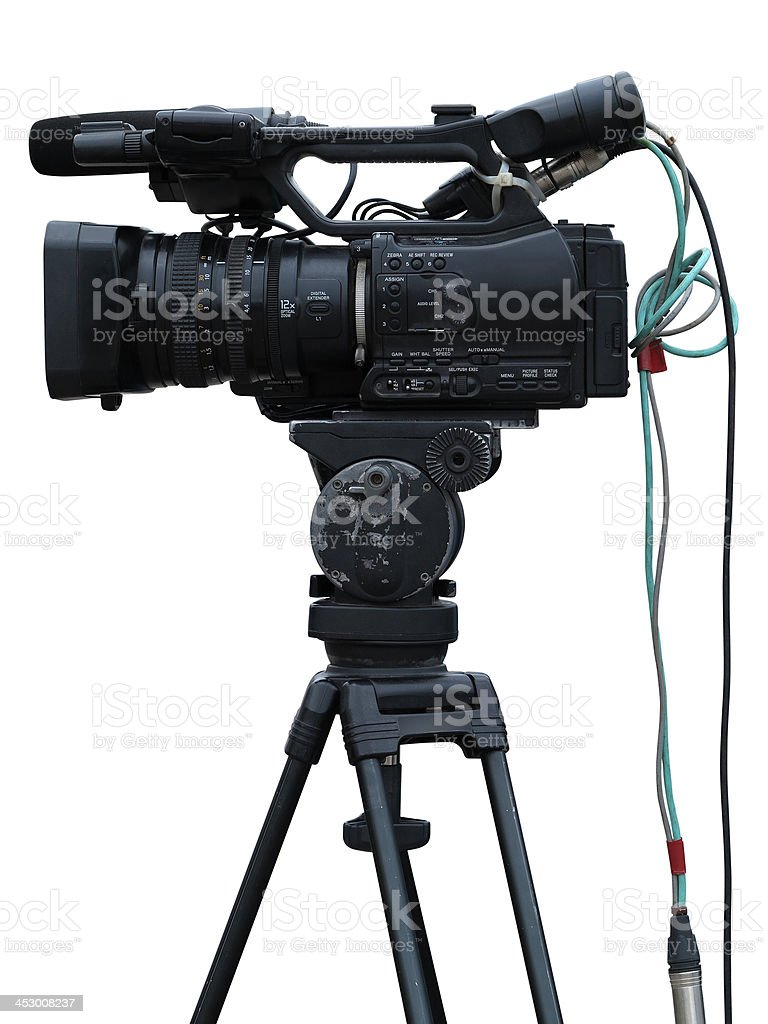 TV Professional studio digital video camera isolated on white stock photo