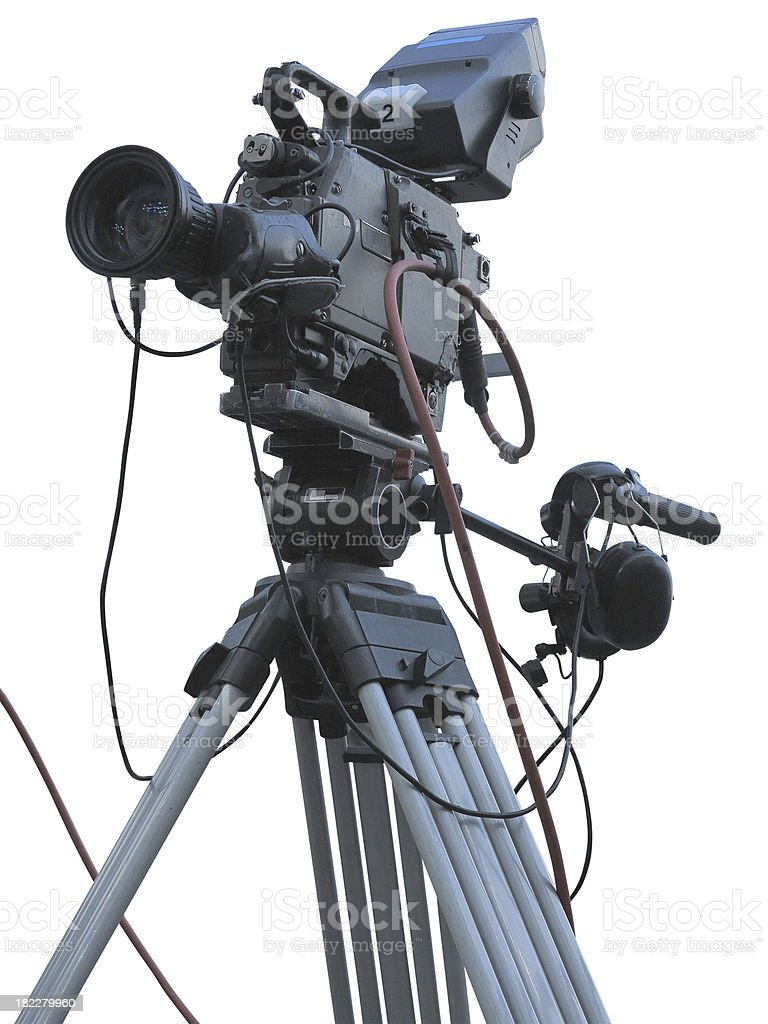 TV Professional studio digital video camera on tripod isolated o royalty-free stock photo