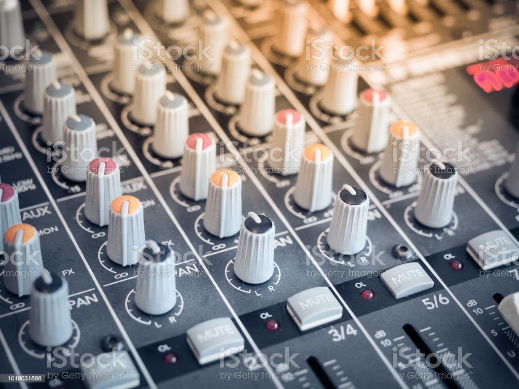 Professional studio equipment for sound mixing. stock photo