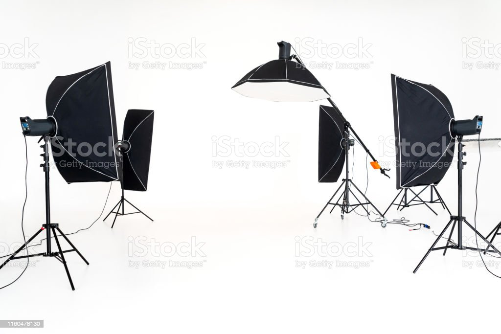 Professional studio lighting soft boxes set up ready for photo shoot...