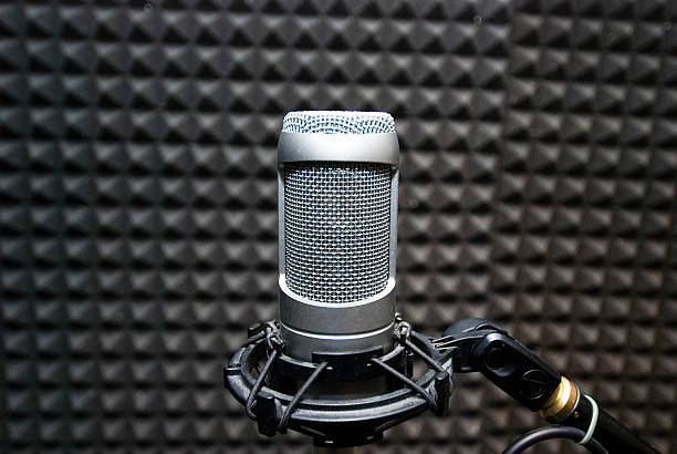 professional studio microphone stock photo
