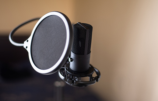Professional studio microphone with pop up filter on a stand in front of computer
