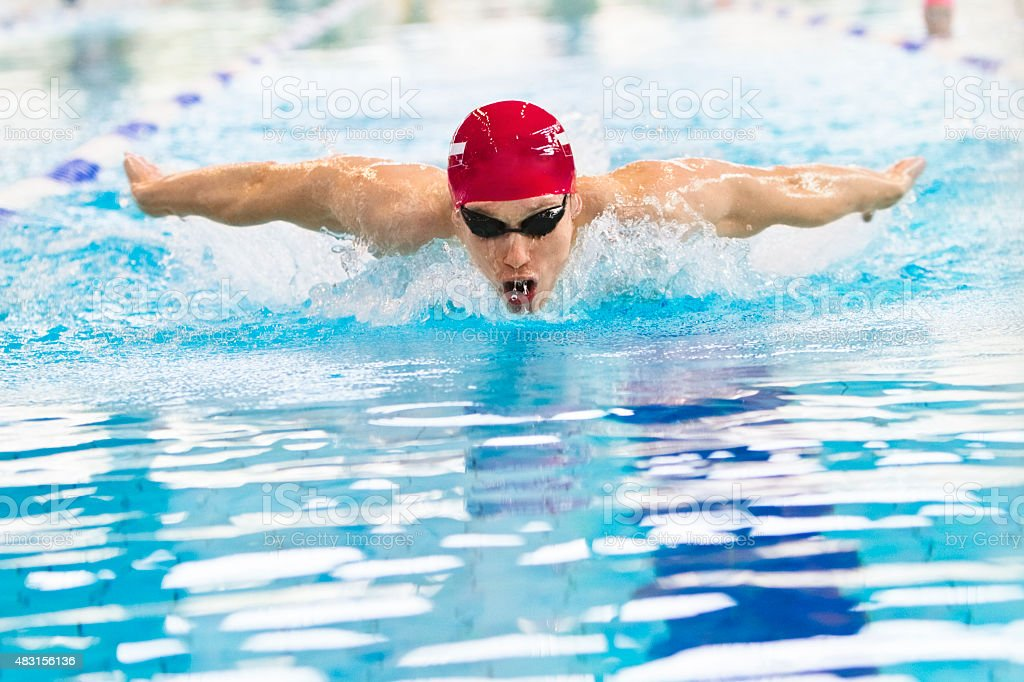Professional swimmer in swimming pool stock photo