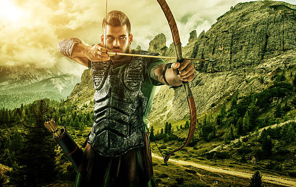 Professional target archery, hunting in the forest, close-up stock photo