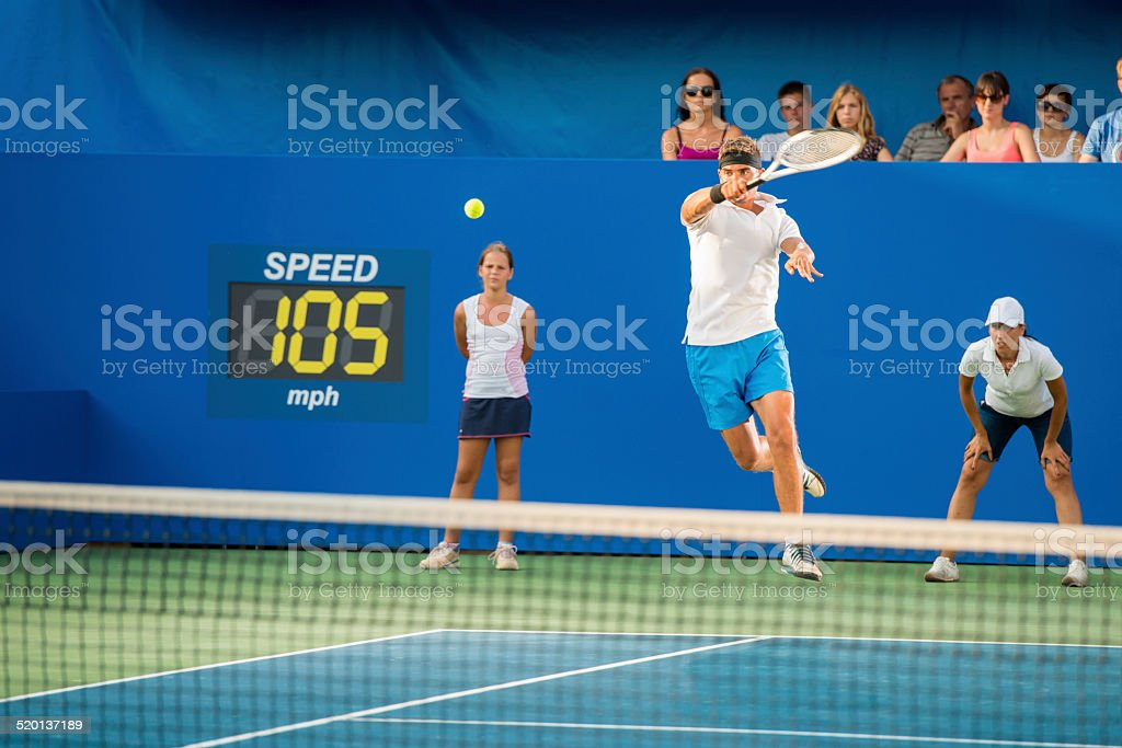 Professional Tennis Player In Action stock photo