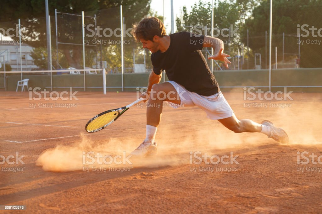 Professional tennis player on court stock photo
