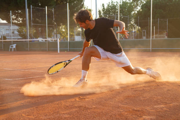 professional tennis player on court - tennis stock pictures, royalty-free photos & images