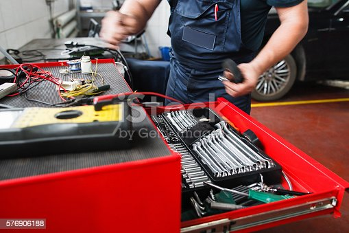 istock Professional toolbox with modern tools at garage 576906188