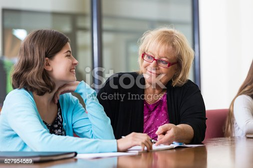 istock Professional tutor teaching preteen students during after school program 527954589