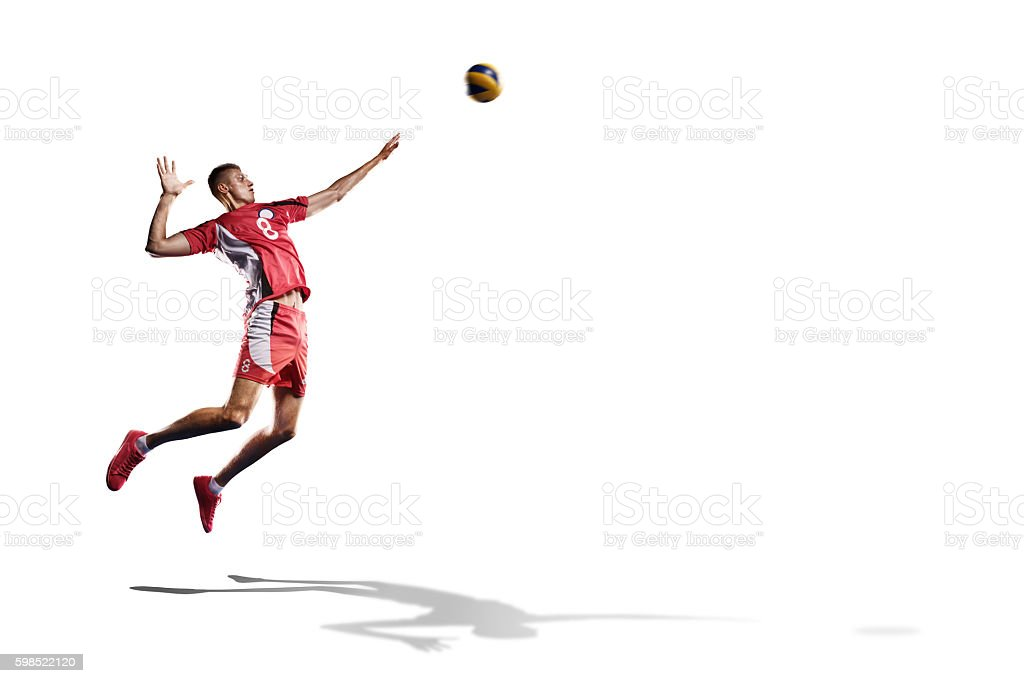 Professional valleyball player isolated on white stock photo