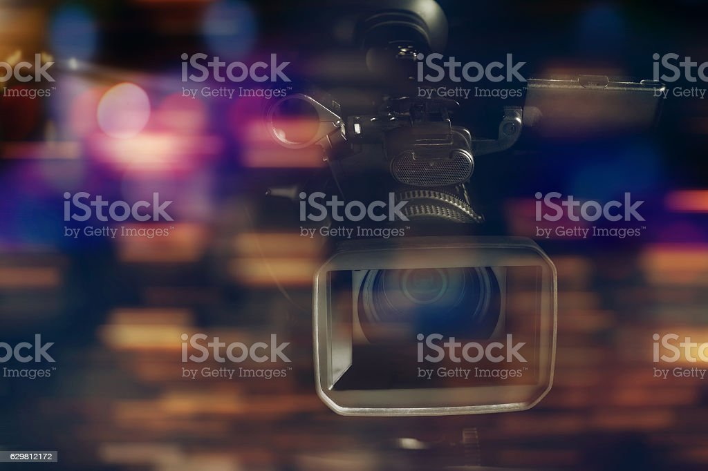 professional video camcorder in studio with blurred background – Foto
