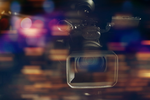 Professional Video Camcorder In Studio With Blurred Background Stock Photo - Download Image Now