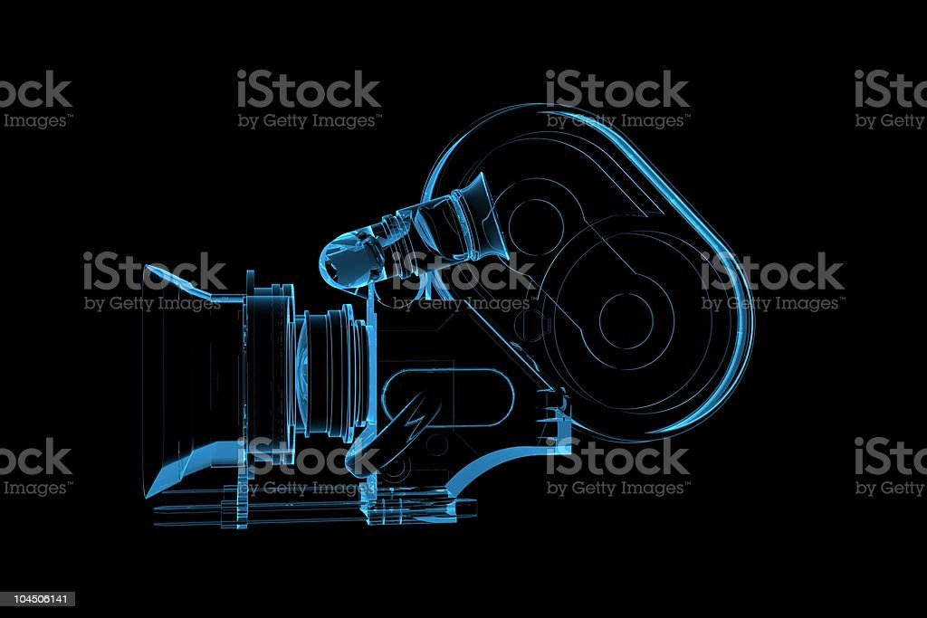 Professional video camera 3D rendered xray blue transparent royalty-free stock photo